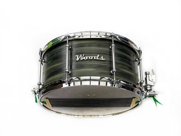 green camo swirl snare drum