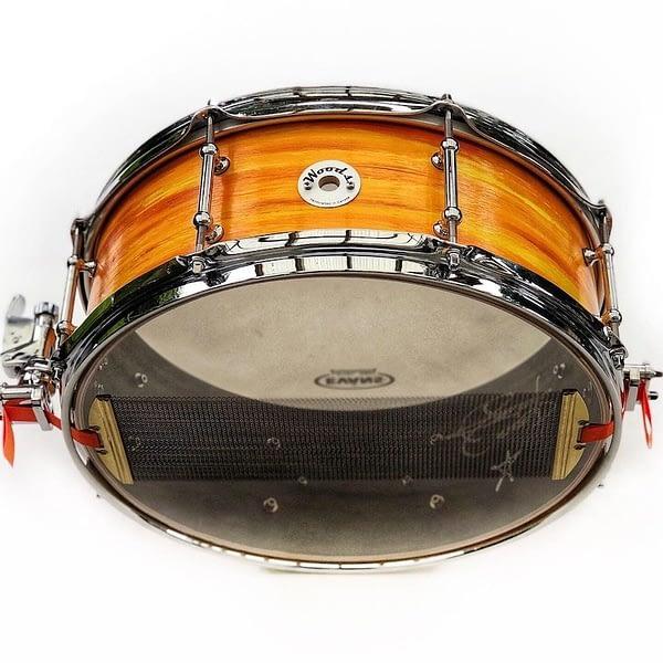 orange swirl finish custom snare drum