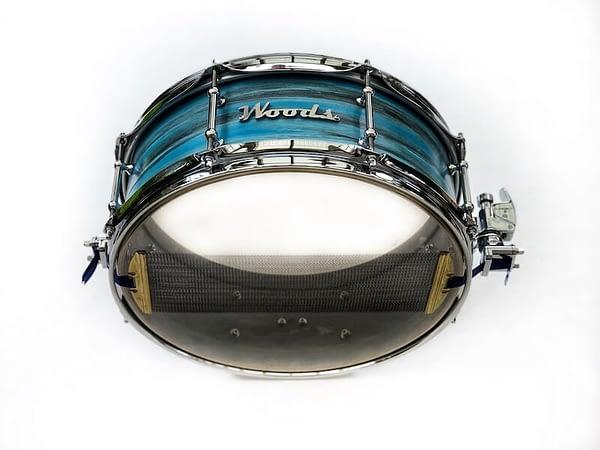 blue camo birch custom snare drum