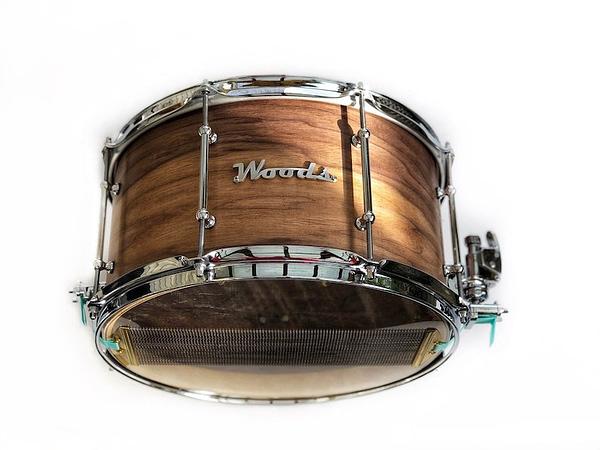 figured walnut 3 ply custom snare drum